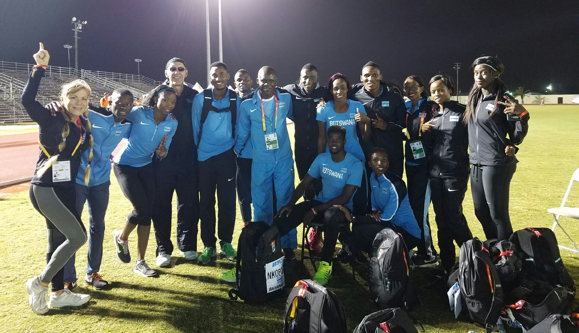 Chiropractor Dr. Philip Claussen, Nancy Claussen, and the Olympic Bahamas Team