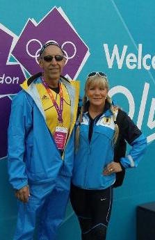 Above:  Dr. Phil & Nancy Claussen at the London Olympic Village in 2016.